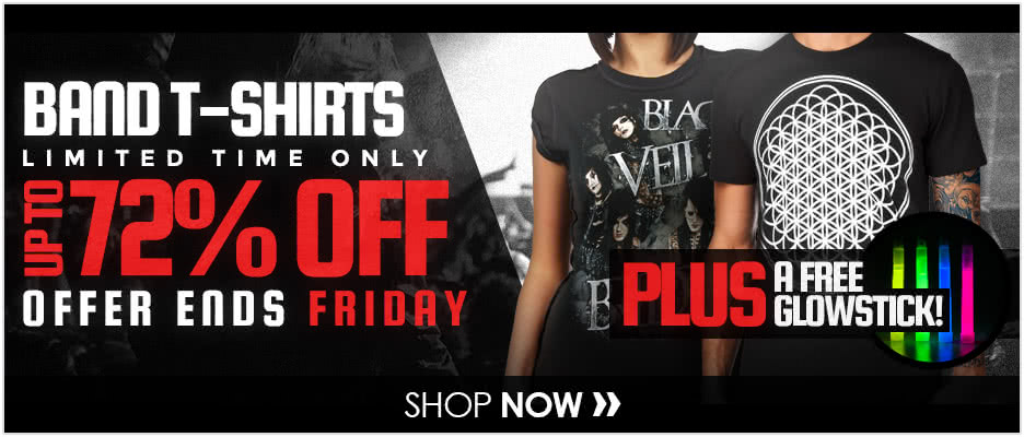 Up To 72% OFF Band T-Shirts Plus A FREE Glow Stick