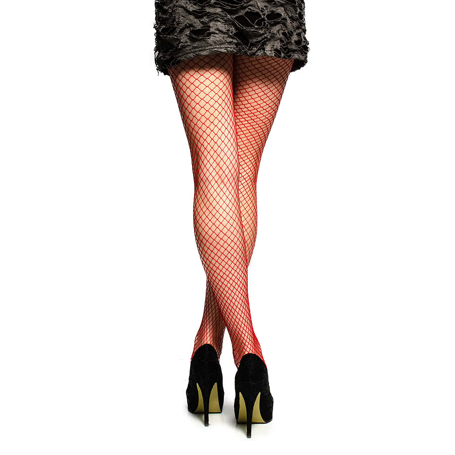 Blue Banana Large Fishnet Pattern Tights (Red)