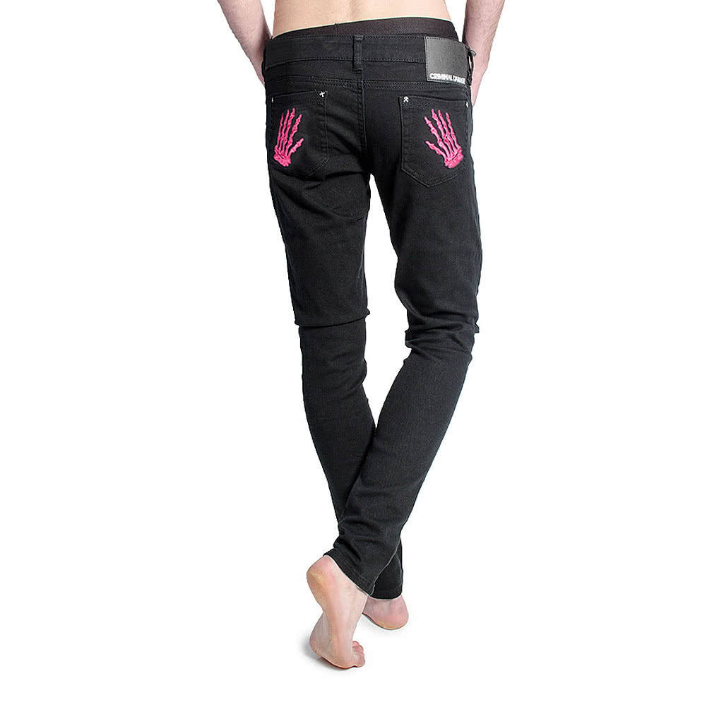 Criminal Damage Men's Skeleton Hands Patterned Skinny Fit Jeans (Black/Pink)