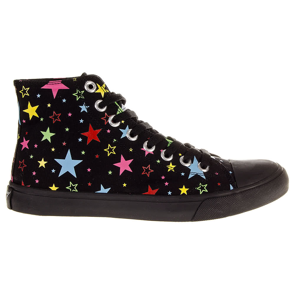 Blue Banana Neon Stars Canvas Hi Top Boots (Black)