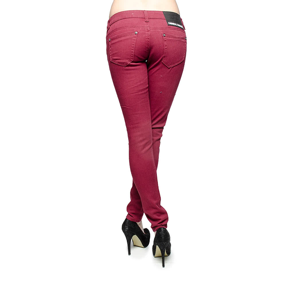 Criminal Damage Skinny Fit Jeans (Wine Burgundy)