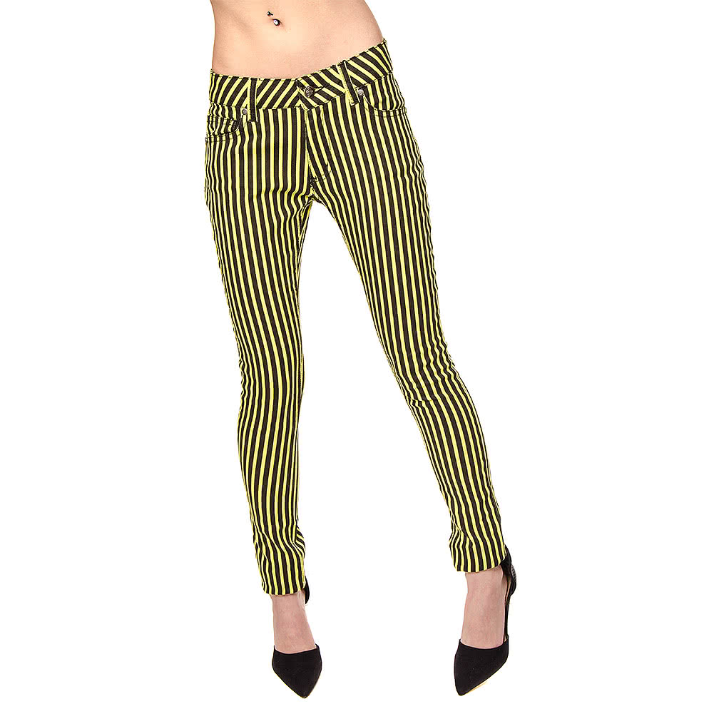 Bleeding Heart Striped Skinny Fit Jeans (Black/Lime)