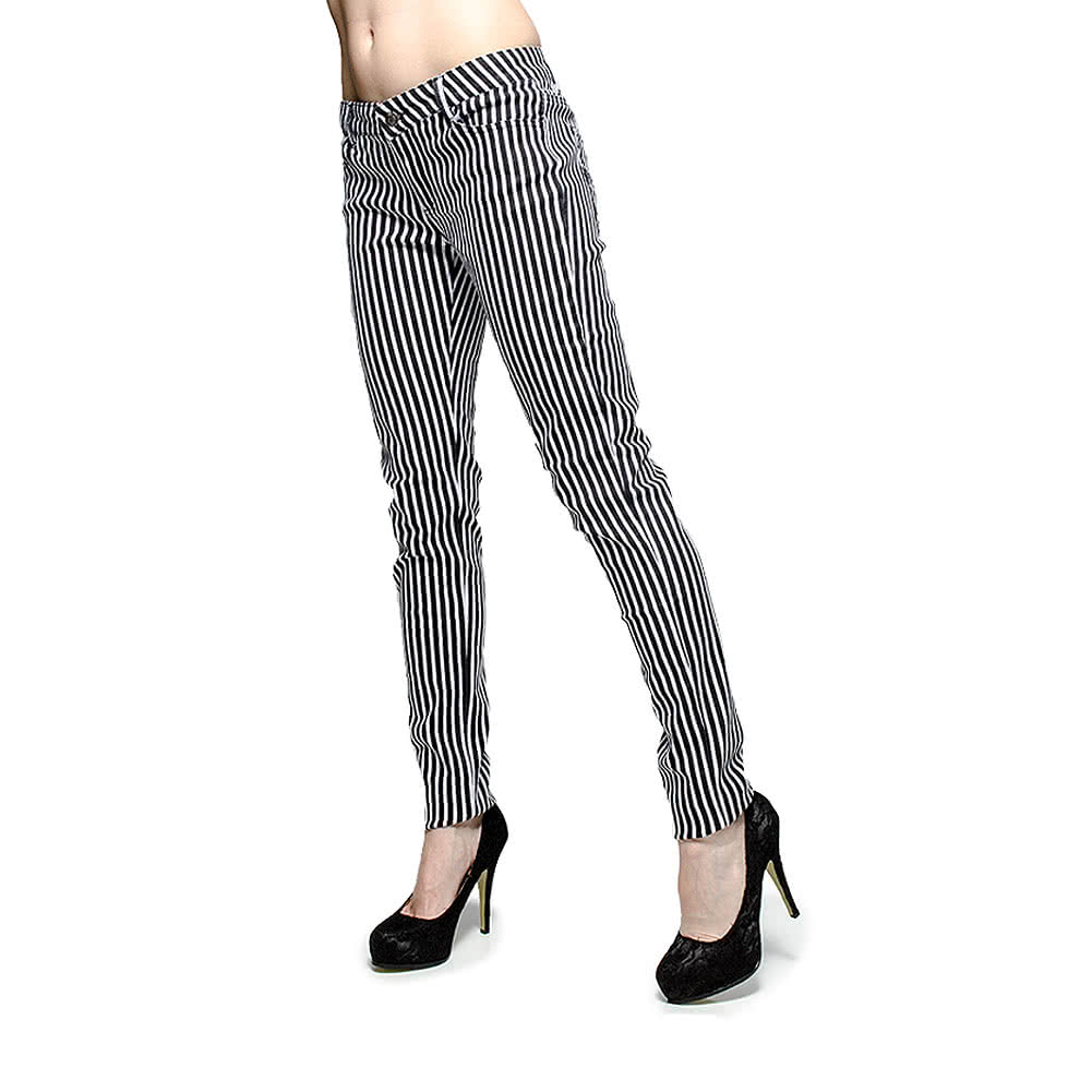 Bleeding Heart Striped Skinny Fit Jeans (Black/White)