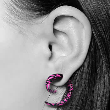 Blue Banana Spiral Ear Stretcher (Pink Zebra)