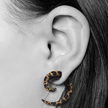 Blue Banana Spiral Ear Stretcher (Leopard)
