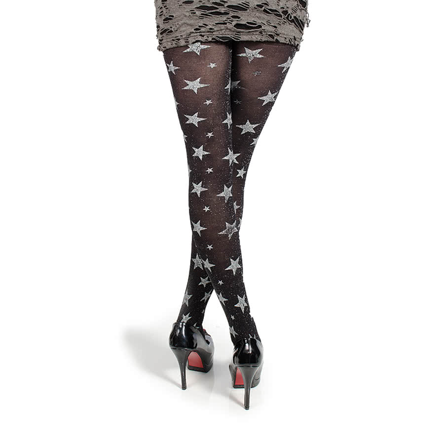 Blue Banana Silver Glitter Stars Tights (Black)