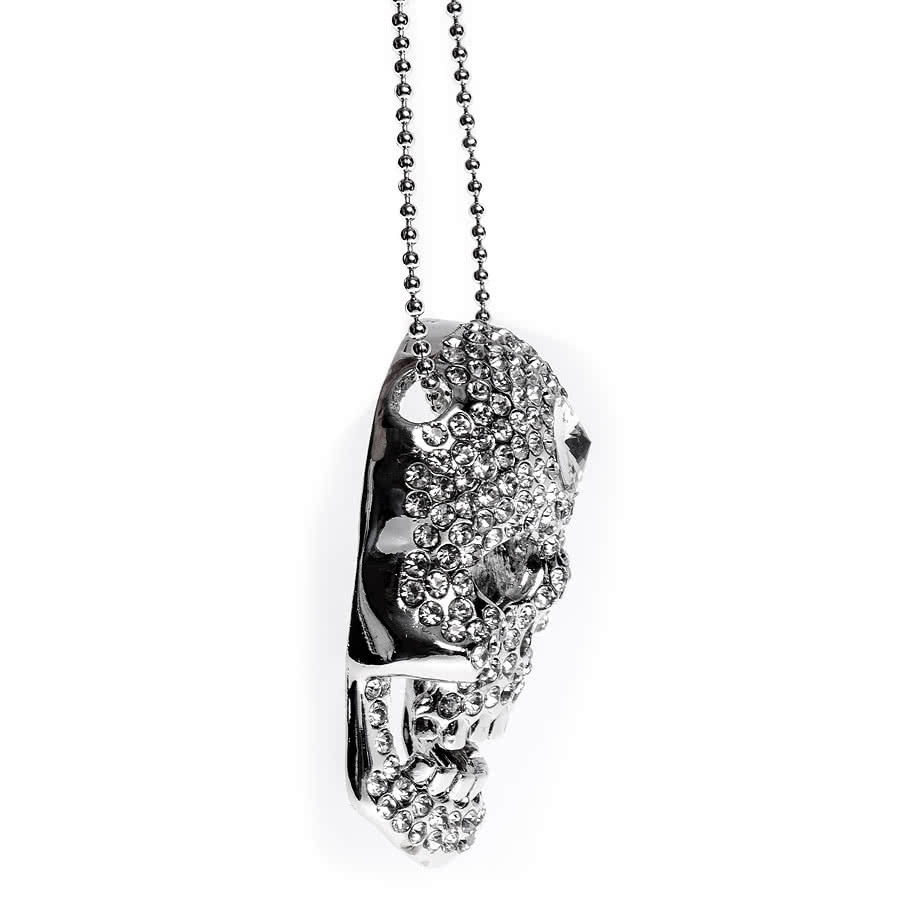 Blue Banana Medium One Stone Skull Necklace
