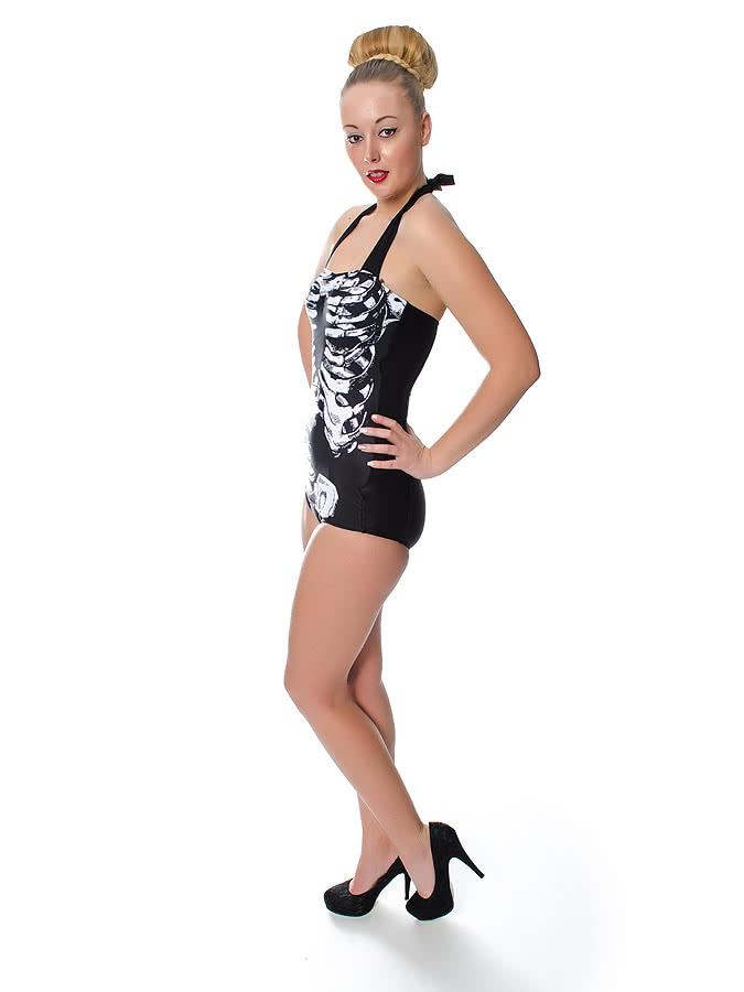 Banned Skeleton Swimsuit (Black)