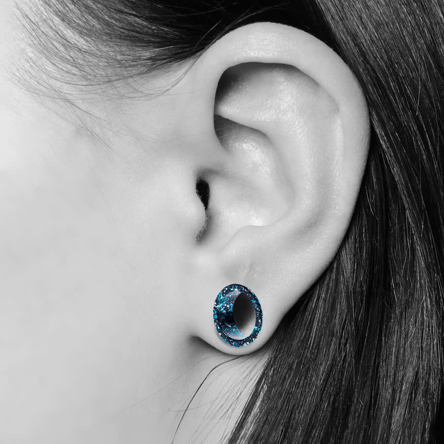 Blue Banana Marble Flesh Tunnel (Blue/Silver)