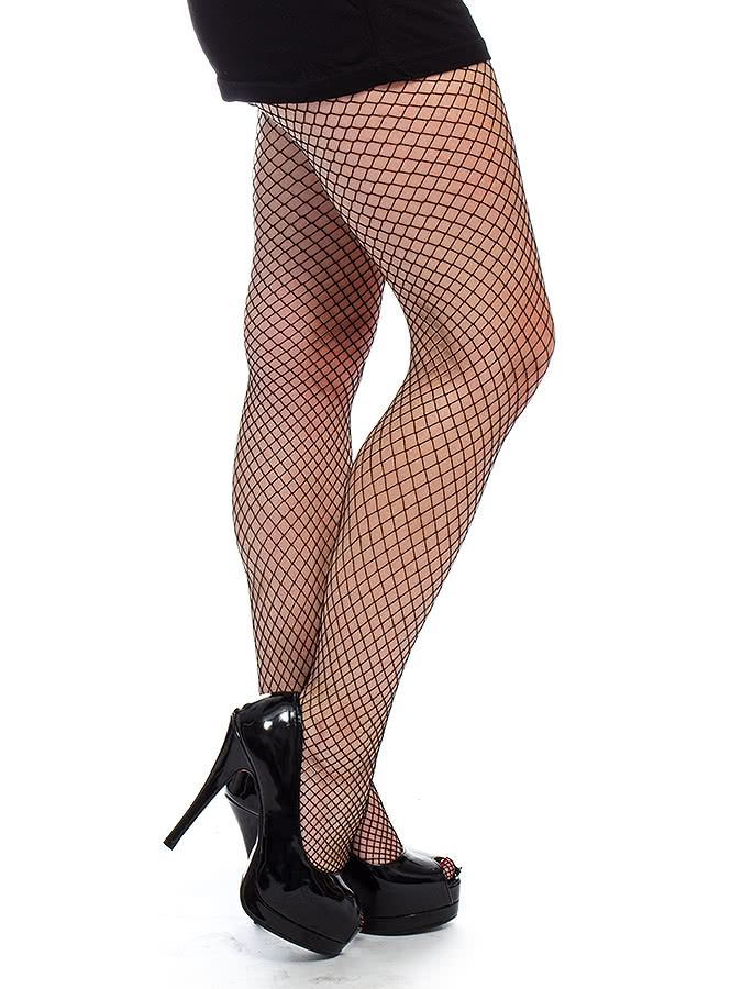 Blue Banana Medium Fishnet Tights (Black)