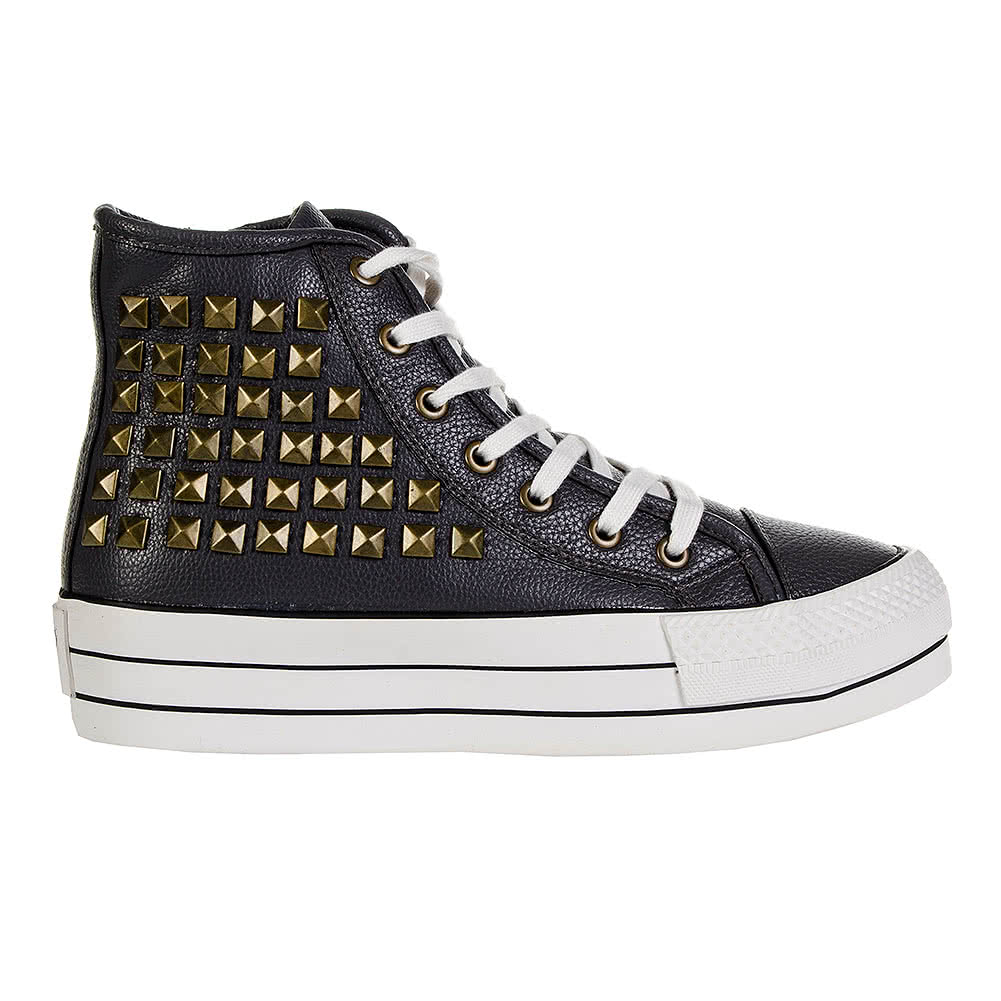 Bleeding Heart Zip & Stud Platform Hi Top (Grey)