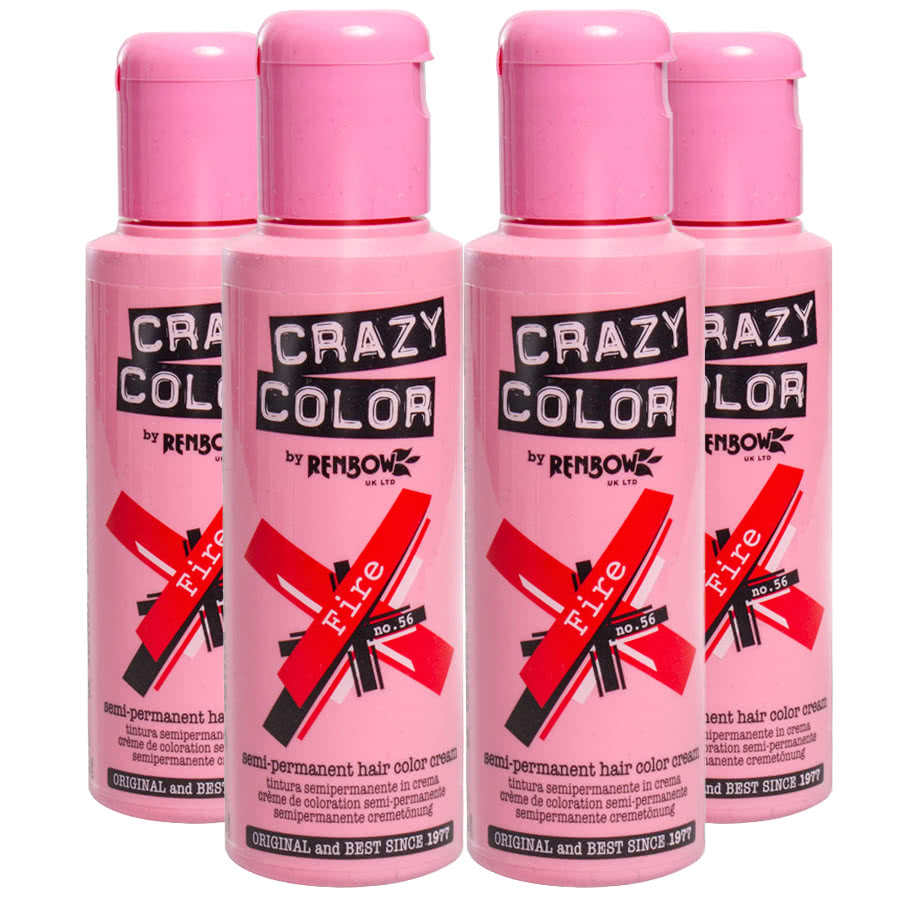 Crazy Color Semi-Permanent Hair Dye 4 Pack (Fire Red)