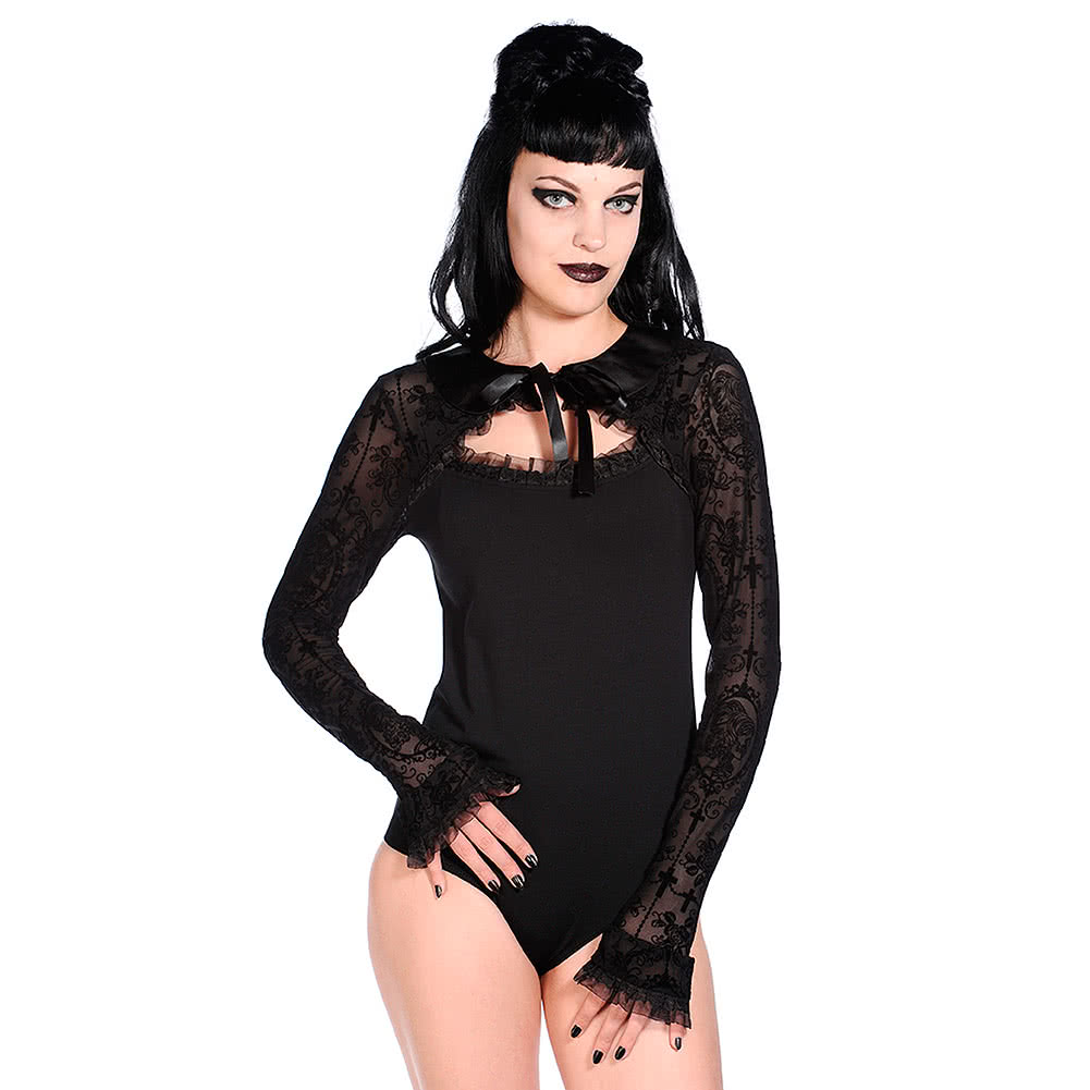 Banned Lace Cross Bodysuit (Black)