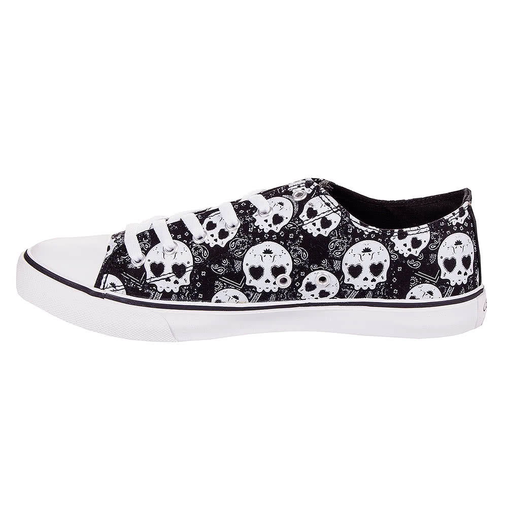 Bleeding Heart Sugar Skull Canvas Trainers (Grey)