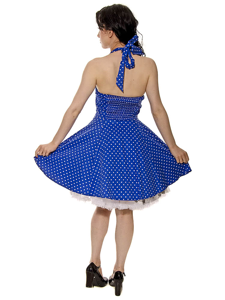 H&R Polka Halterneck Dress (Blue)