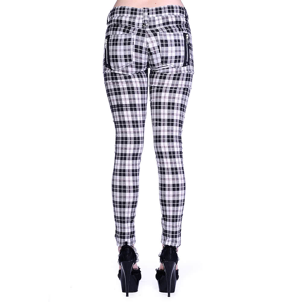 Banned Plaid Super Skinny Jeans (White)