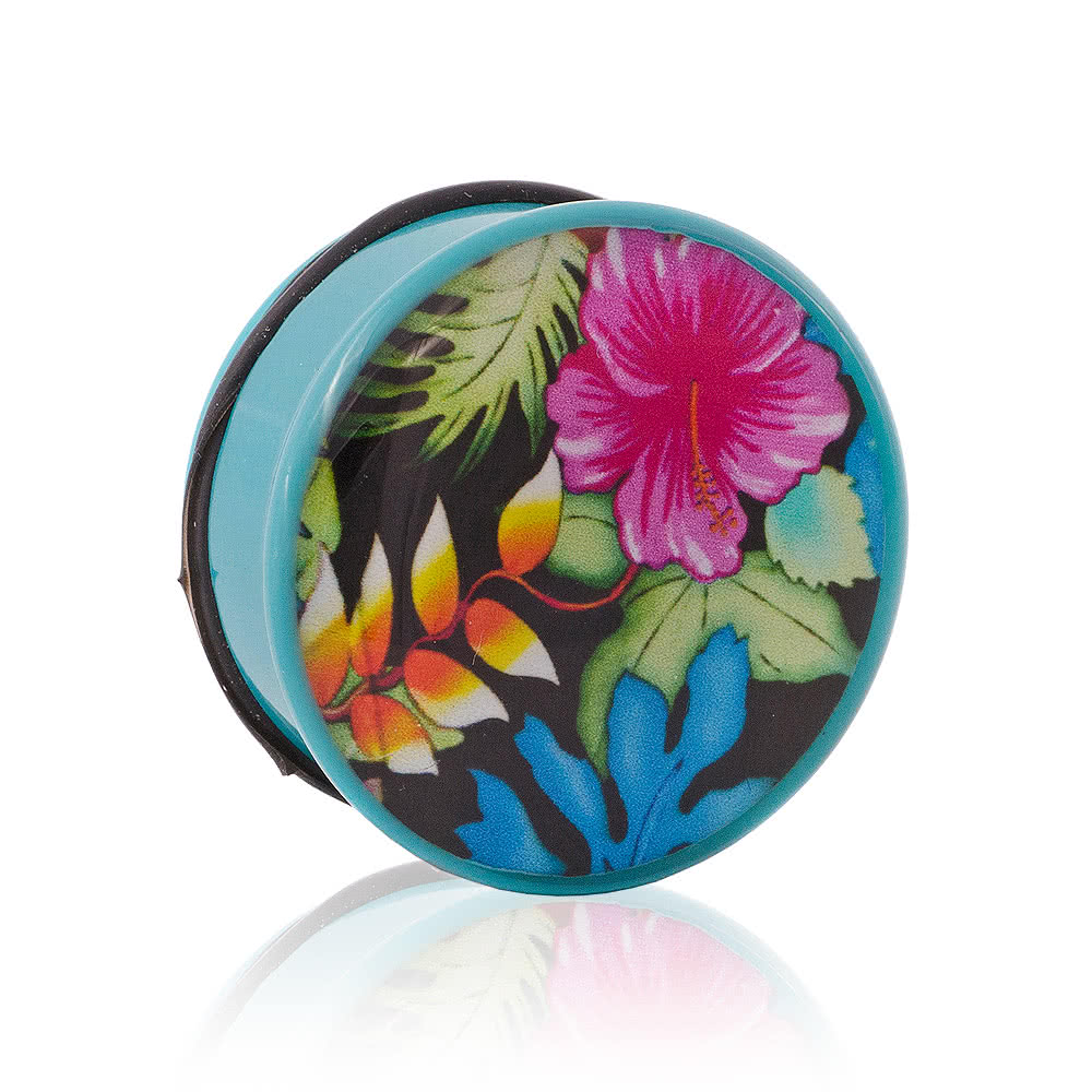 Blue Banana Plug Floral Turquoise (4-12mm)