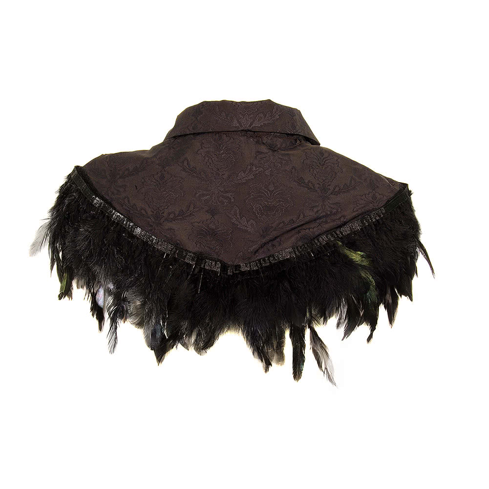 Golden Steampunk Constance Feather Cape (Black)