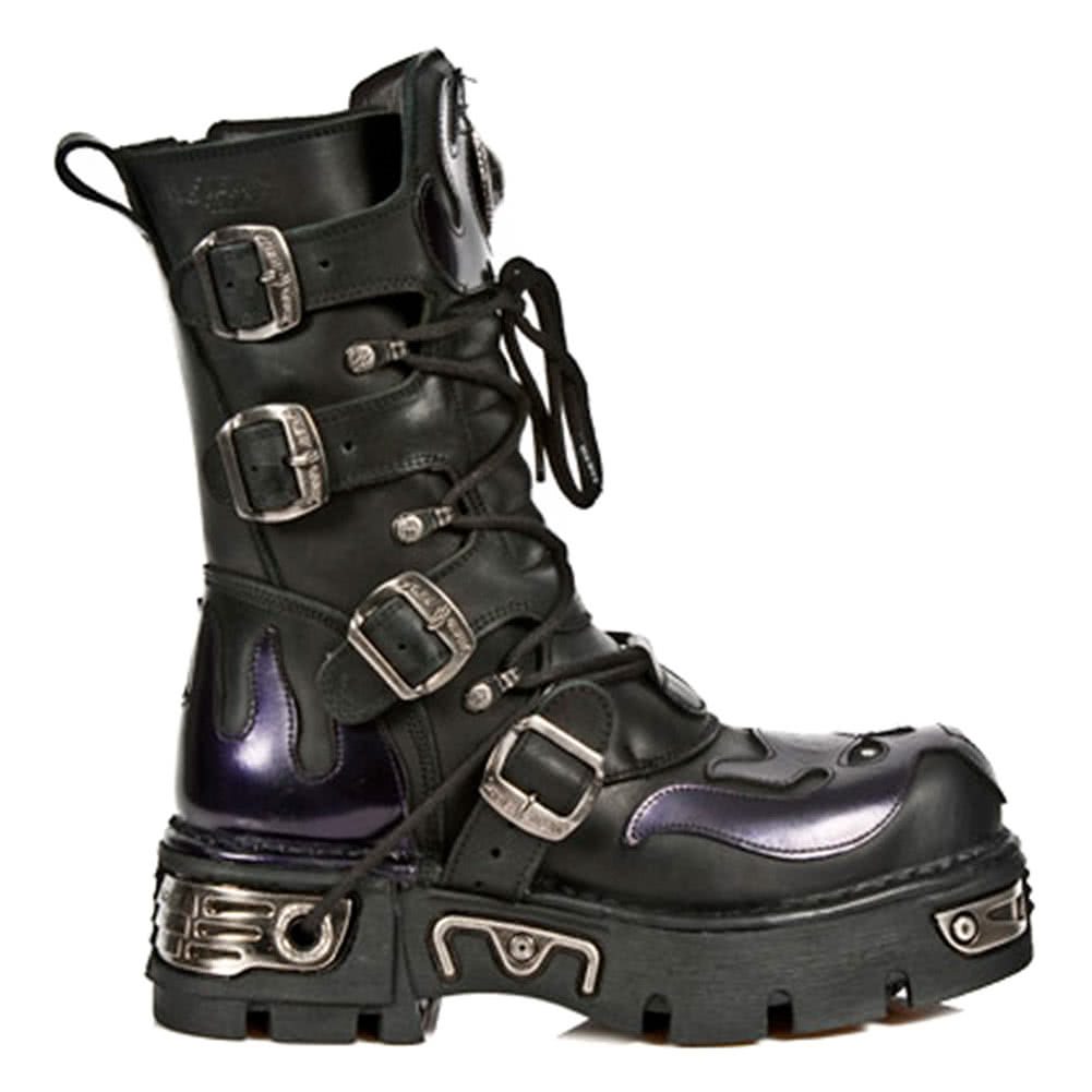 New Rock Boots Purple Flames Style M107-S4 (Black)