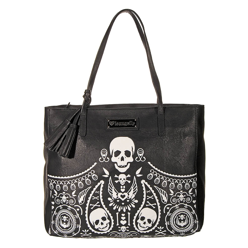Loungefly Embossed Bandana Skull Tote (Black/White)