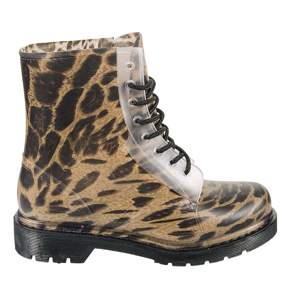 Blue Banana Leopard Print Lace Up Wellie Boots (Natural)