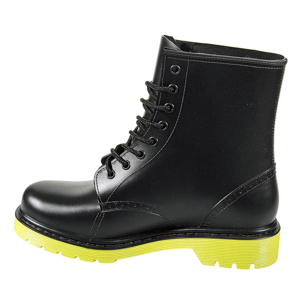 Blue Banana Lace Up Wellie Boots (Black/Yellow)