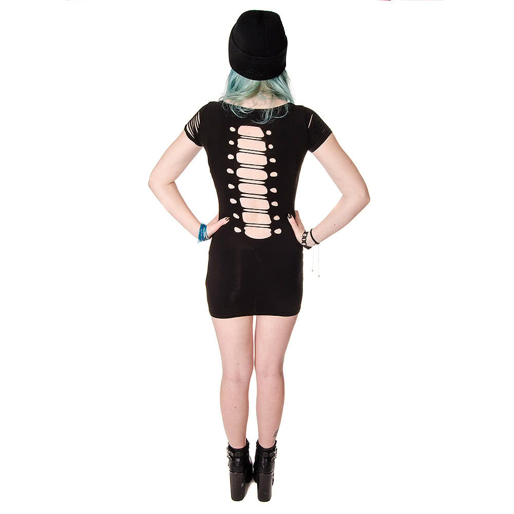 Banned Corset Ribcage T Shirt Dress (Black)
