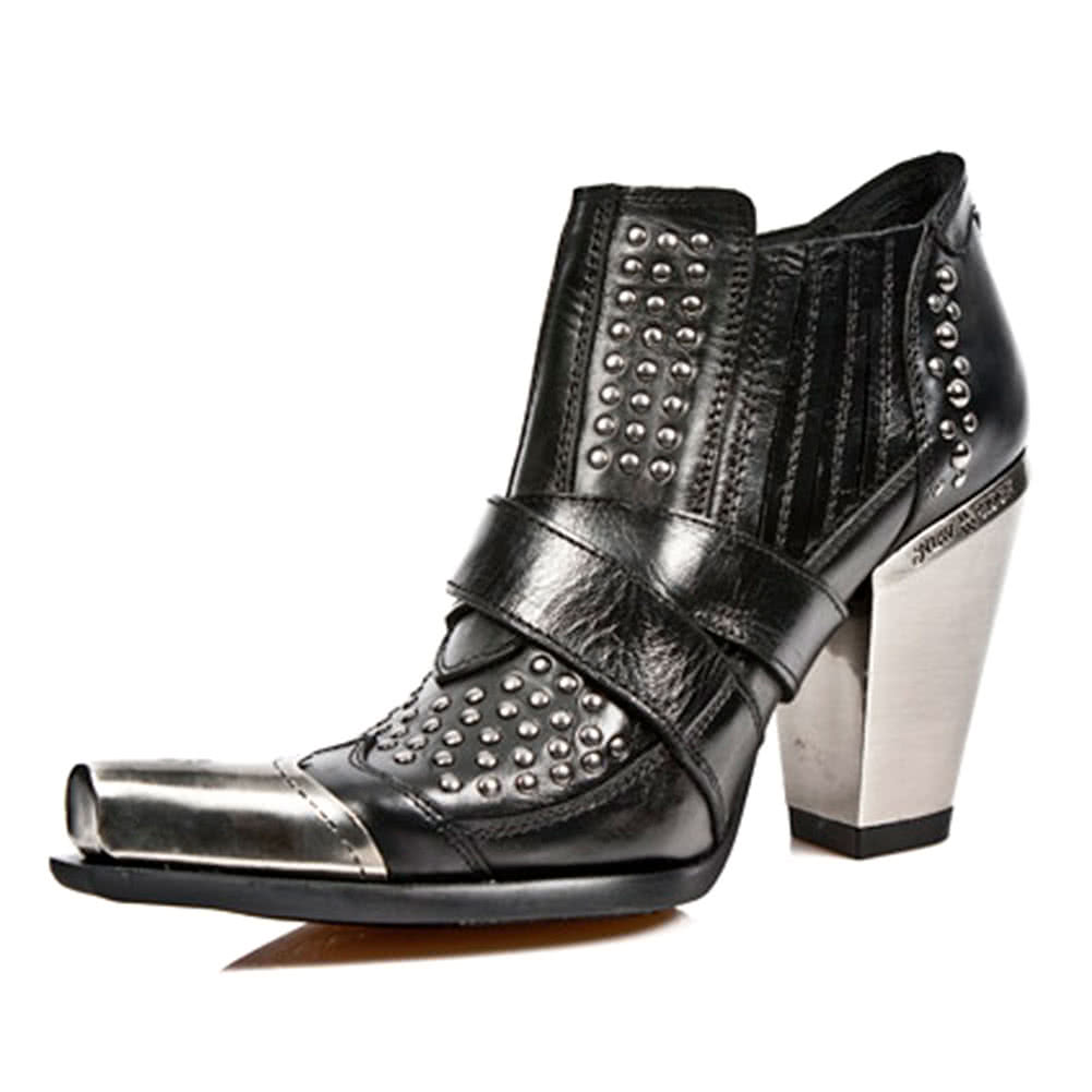 New Rock Boots Studded Ankle High Pull On Heeled Style M.7984P-S1 (Black)
