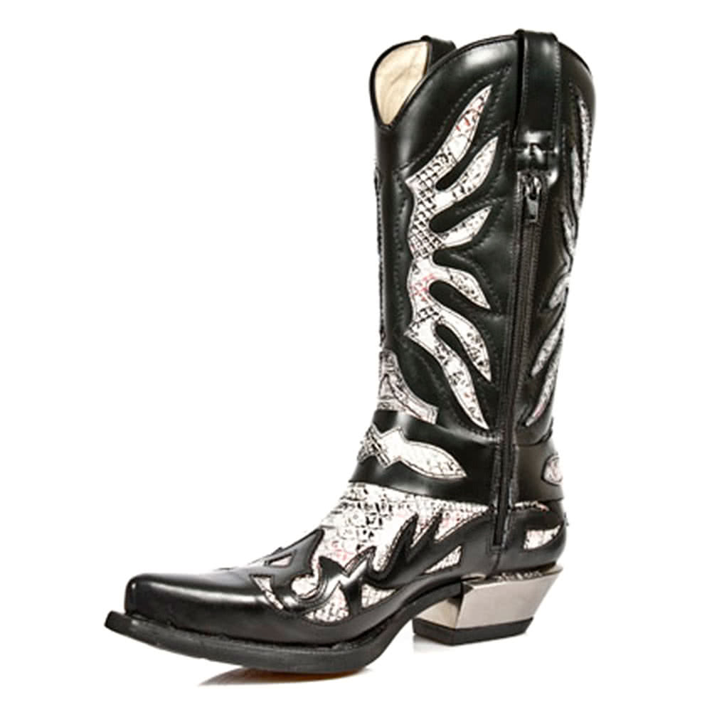 new rock black white m 7991 s1 cowboy style boots new