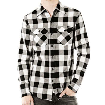 Criminal Damage Jack Checkered Print Shirt (Black/White)
