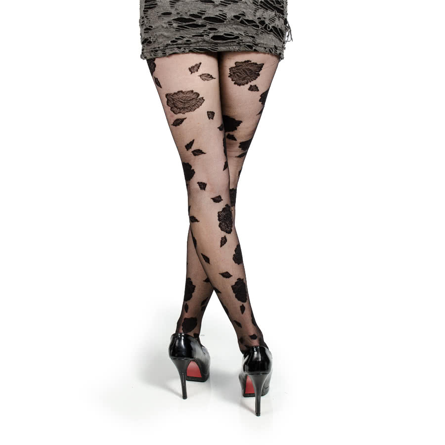 Pamela Mann Flocked Rose Tights (Black)