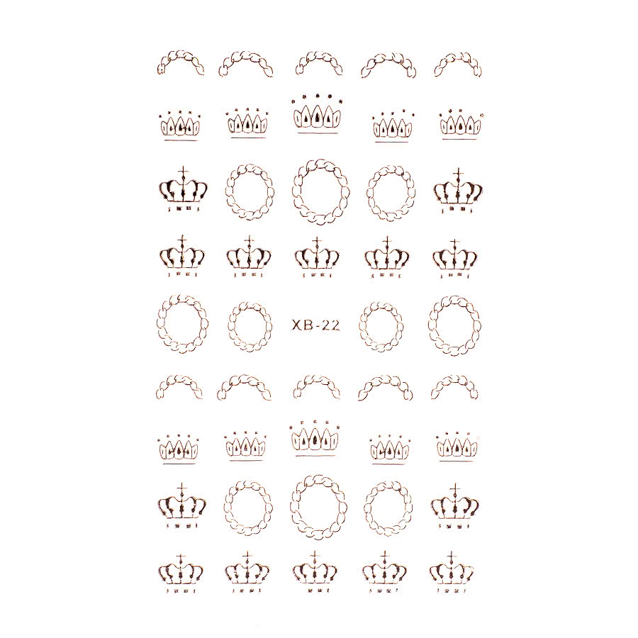 Nail Art Sheets XB-22 Crown / Royal (Silver)