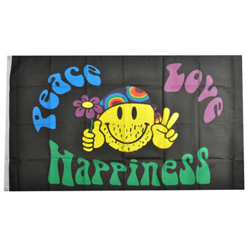 Blue Banana Peace Love And Happiness Flag