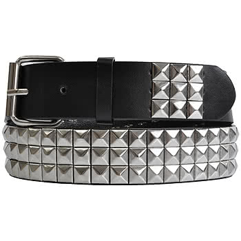HALF PRICE! - Blue Banana 3 Row Studded Belt (Black/Silver)
