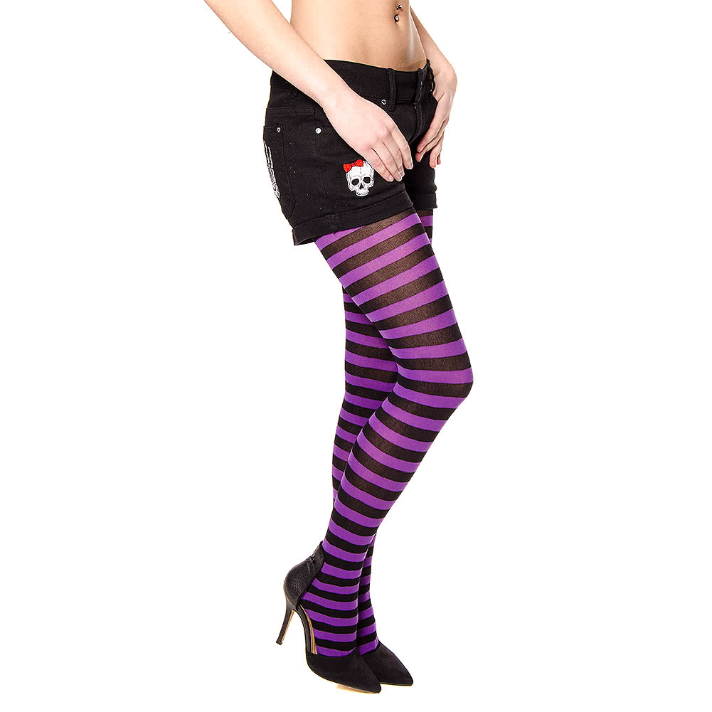 Blue Banana Striped Print Tights (Black/Purple)