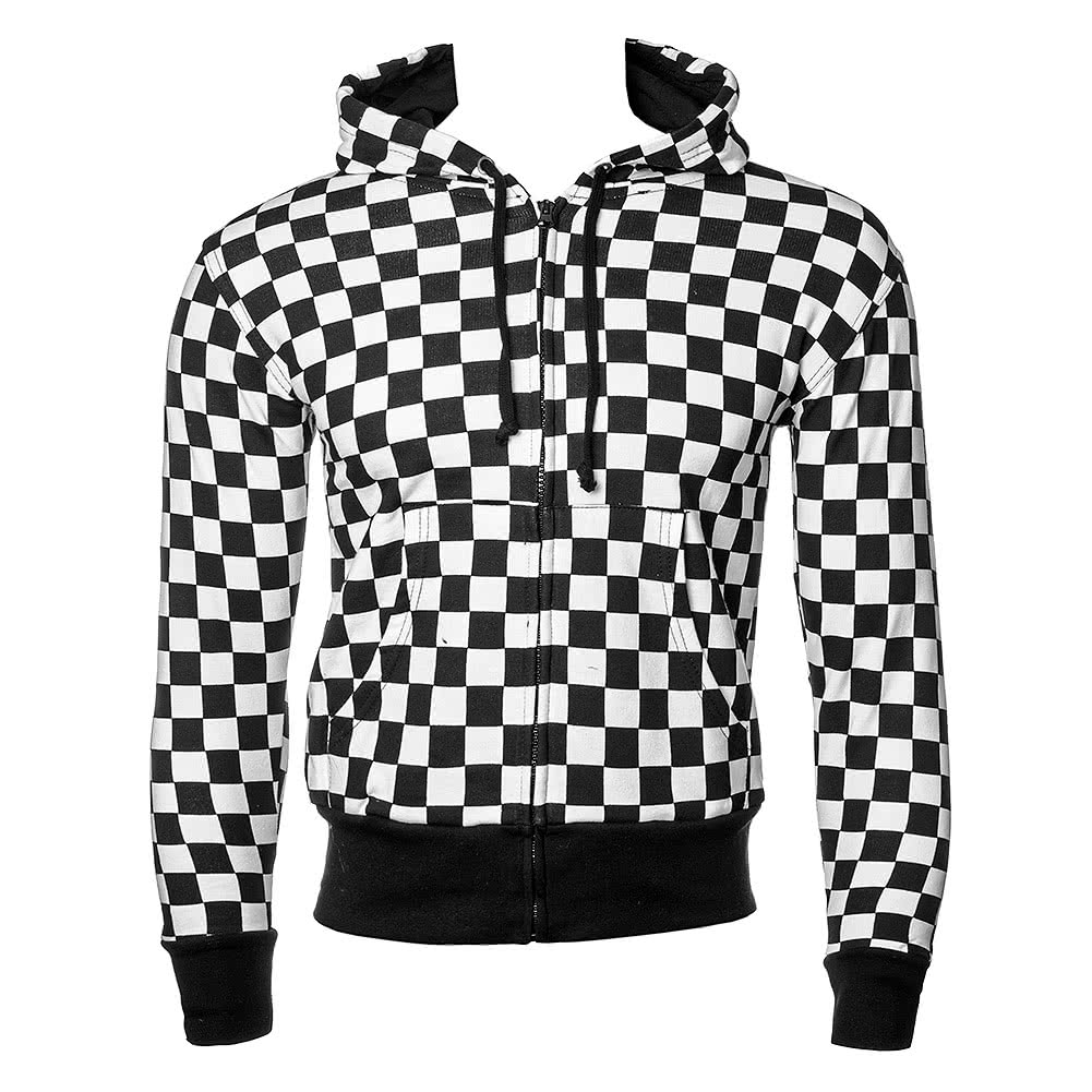 Blue Banana Essential Chess Checker Print Hoodie (Black/White)