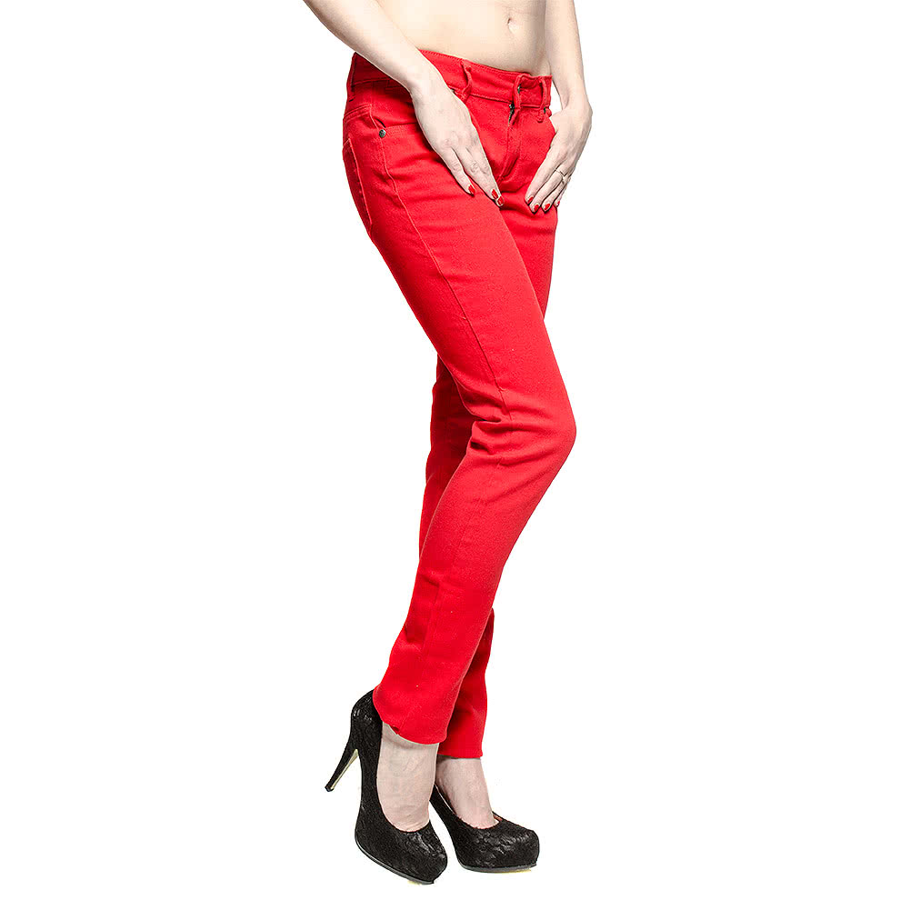 Bleeding Heart Plain Skinny Fit Jeans (Red)