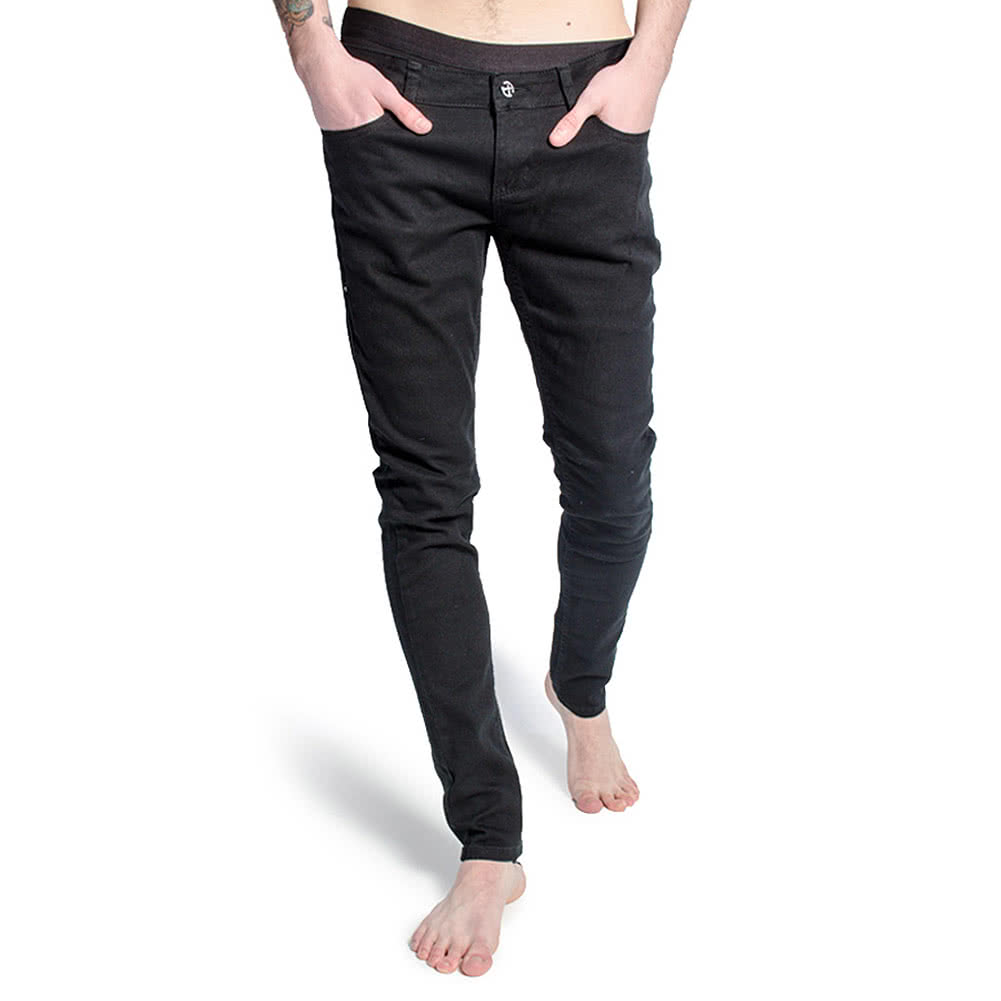 Criminal Damage Men's Skeleton Hands Patterned Skinny Fit Jeans (Black/White)
