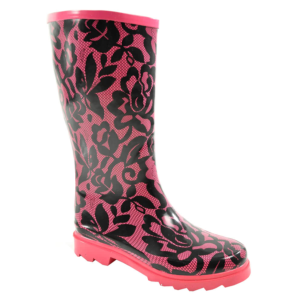 Blue Banana Lace Print Wellies (Pink)