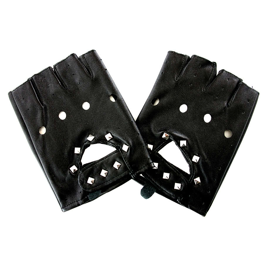 Blue Banana PU Studded Leather Gloves (Black)