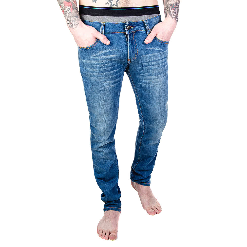 Bleeding Heart Men's Stonewash Skinny Fit Jeans (Blue)