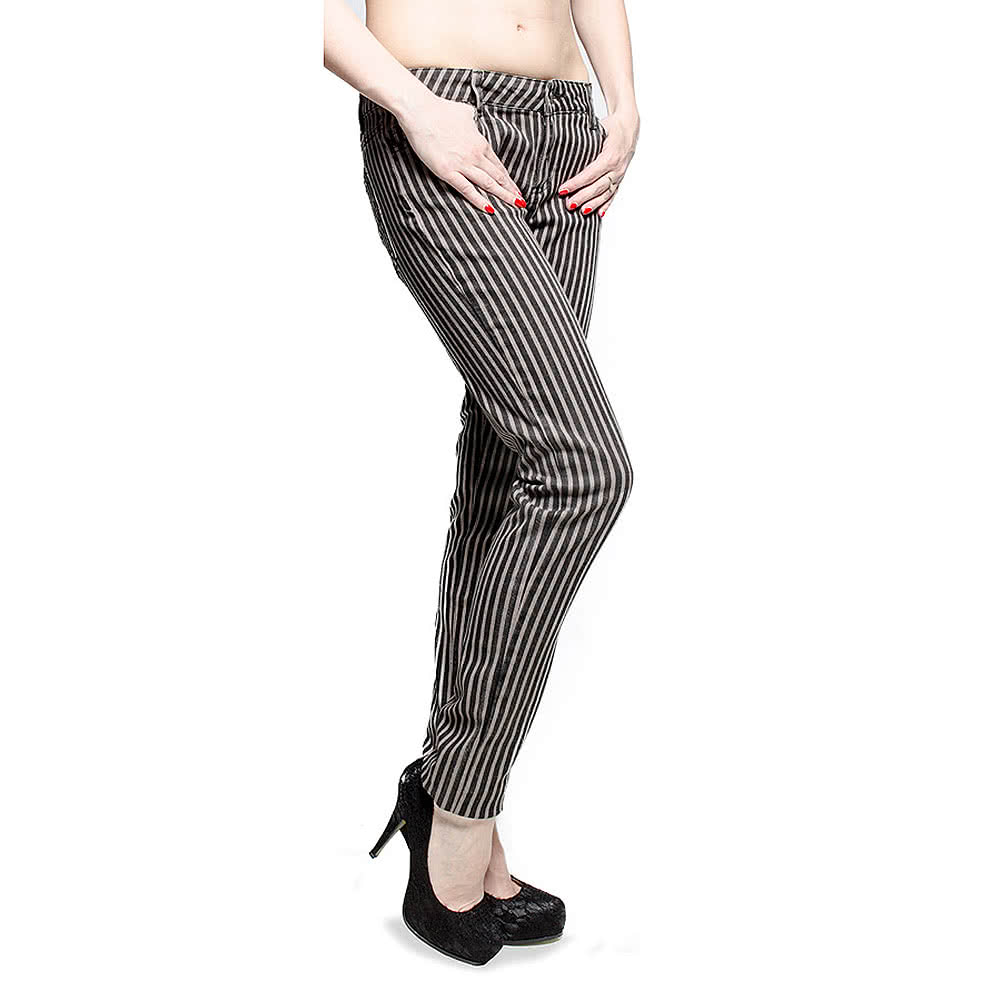 Bleeding Heart Striped Skinny Fit Jeans (Black/Grey)