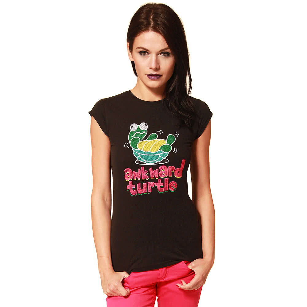 Flip Flop And Fangs Awkward Turtle X Stitch Skinny Fit T Shirt (Black)