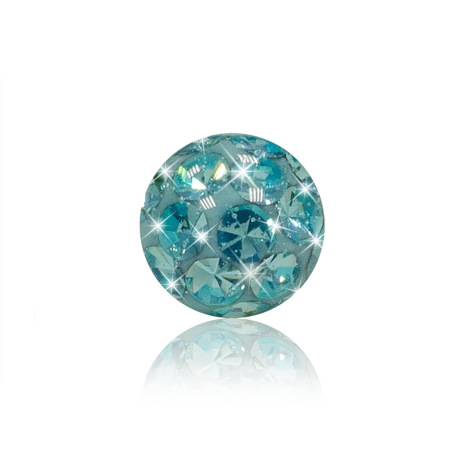 Crystal 3mm Glitter Ball (Aqua)