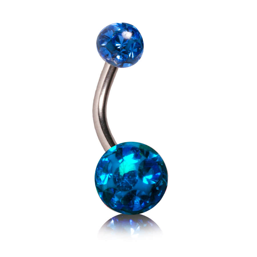 Blue Banana 1.6mm Glitter Navel Bar (Capri Blue)