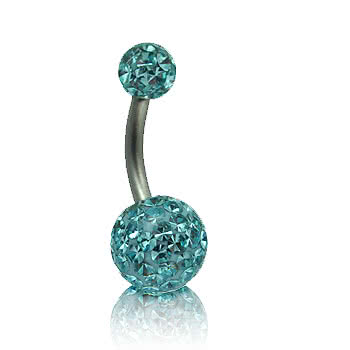 Blue Banana 1.6mm Glitter Navel Bar (Aqua)