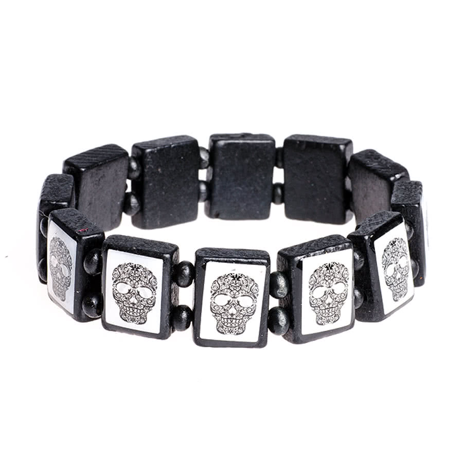 Blue Banana Black & White Sugar Skulls Icon Bracelet