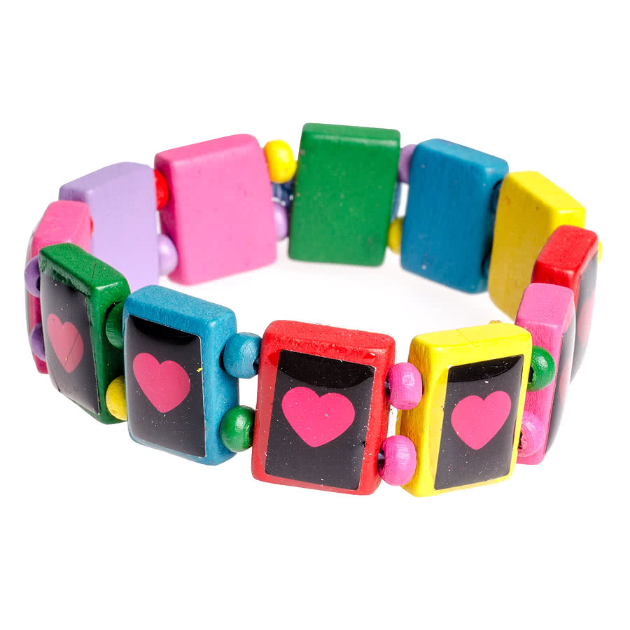 Blue Banana Multi Coloured Hearts Icon Bracelet