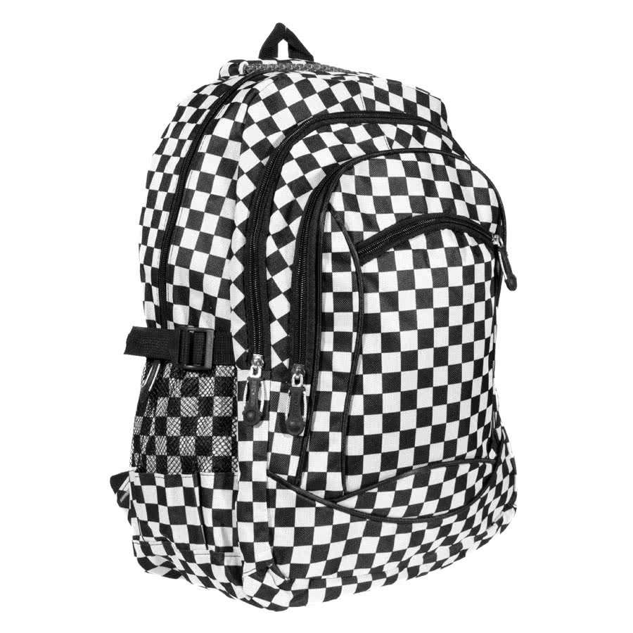 Blue Banana Checked Backpack (Black/White)