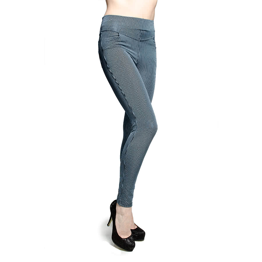 Blue Banana Pinstripe Leggings (Black on Blue)